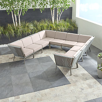 Morocco Light Grey 10-Piece Sectional with Silver Sunbrella ® Cushions