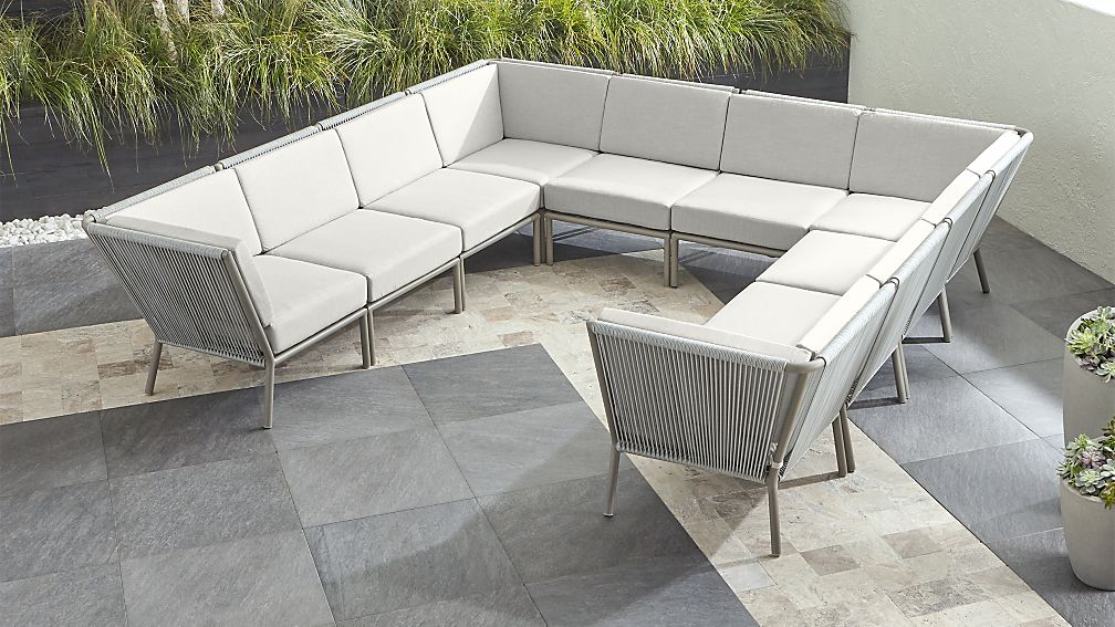 Morocco Light Grey 10-Piece Sectional with White Sunbrella ® Cushions - Image 1 of 2