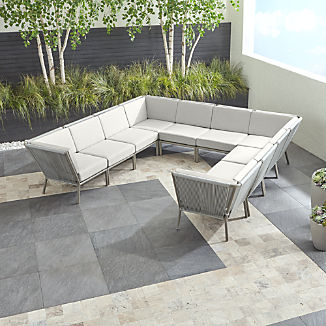Morocco Light Grey 10-Piece Sectional with White Sunbrella ® Cushions