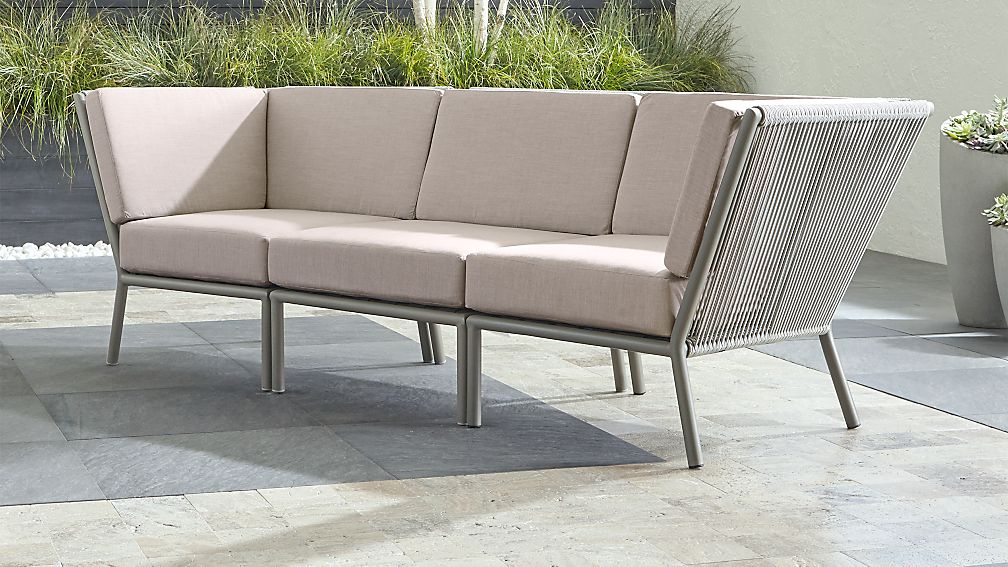 Morocco Light Grey 3-Piece Sofa Sectional with Silver Sunbrella ® Cushions - Image 1 of 2