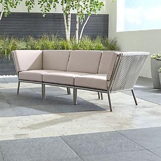 Morocco Light Grey 3-Piece Sofa Sectional with Silver Sunbrella ® Cushions