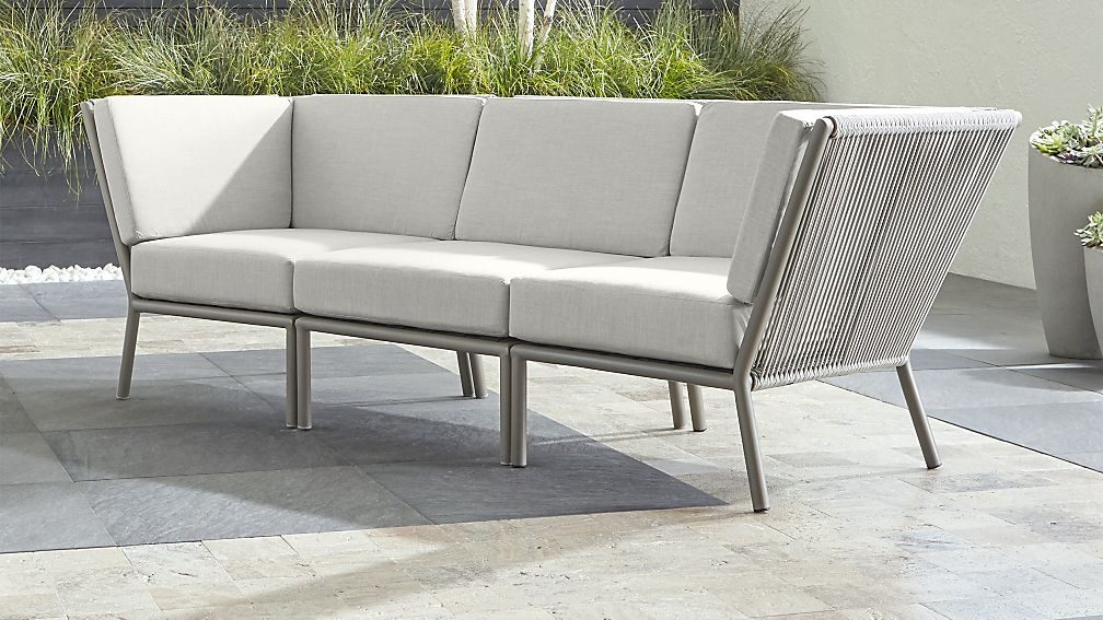 Morocco Light Grey 3-Piece Sectional with White Sunbrella ® Cushions - Image 1 of 2