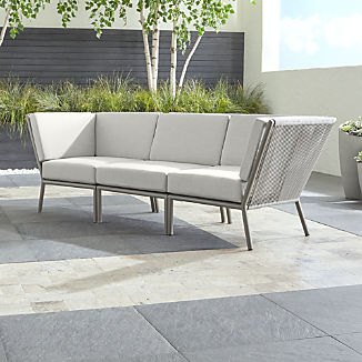 Morocco Light Grey 3-Piece Sectional with White Sunbrella ® Cushions