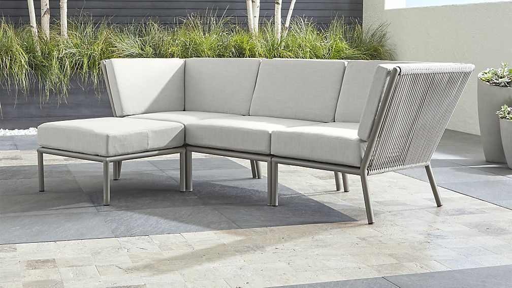 Morocco Light Grey 3-Piece Sofa Sectional with Ottoman with White Sunbrella ® Cushions - Image 1 of 2