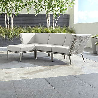Morocco Light Grey 3-Piece Sofa Sectional with Ottoman with White Sunbrella ® Cushions