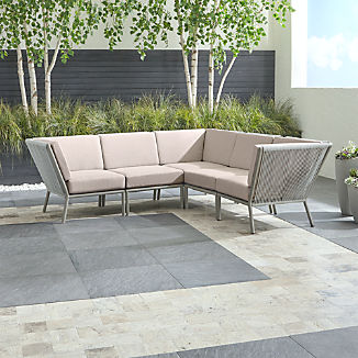 Morocco Light Grey 5-Piece Sectional with Silver Sunbrella ® Cushions