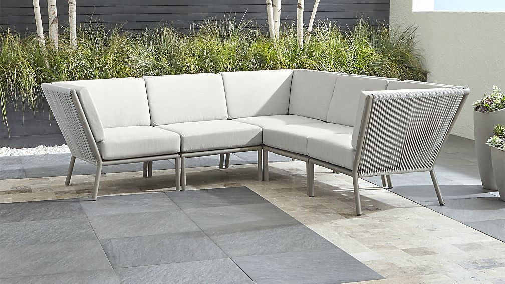 Morocco Light Grey 5-Piece Sectional with White Sunbrella ® Cushions - Image 1 of 3