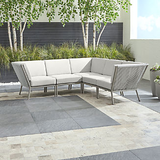 Morocco Light Grey 5-Piece Sectional with White Sunbrella ® Cushions