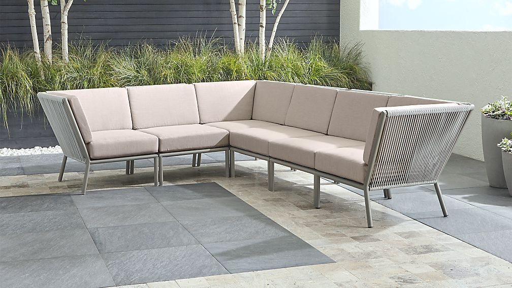 Morocco Light Grey 6-Piece Sectional with Silver Sunbrella ® Cushions - Image 1 of 2