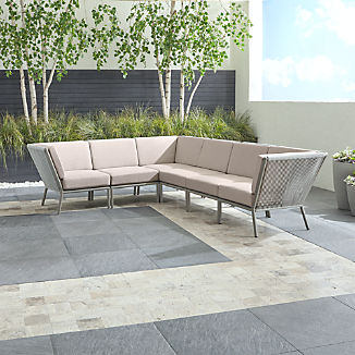 Morocco Light Grey 6-Piece Sectional with Silver Sunbrella ® Cushions