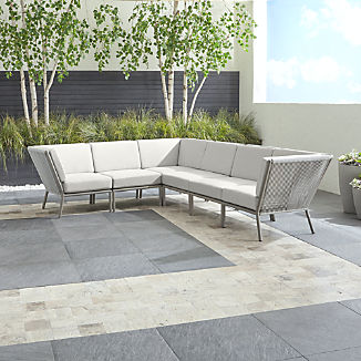 Morocco Light Grey 6-Piece Sectional with White Sunbrella ® Cushions