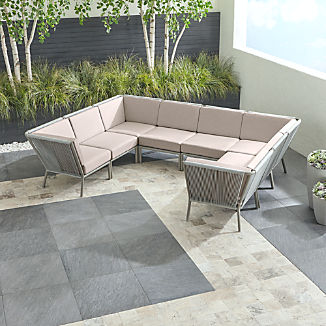 Morocco Light Grey 8-Piece Sectional with Silver Sunbrella ® Cushions