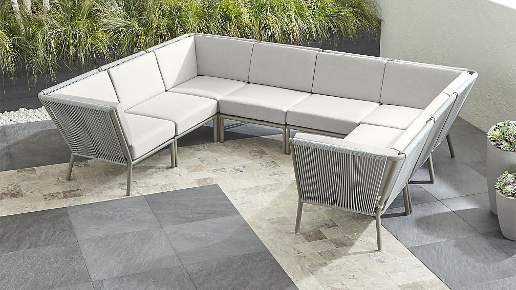 Morocco Light Grey 8-Piece Sectional with White Sunbrella ® Cushions - Image 1 of 2