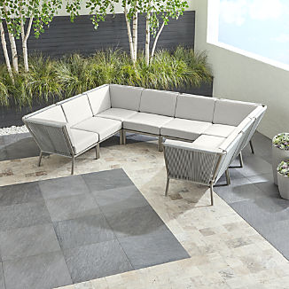Morocco Light Grey 8-Piece Sectional with White Sunbrella ® Cushions