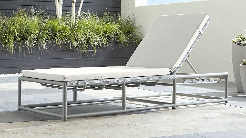 Morocco Light Grey Chaise Lounge with White Sunbrella ® Cushion - Image 1 of 6