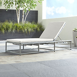 Morocco Light Grey Chaise Lounge with White Sunbrella ® Cushion