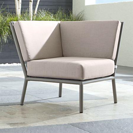 Morocco Light Grey Sectional Corner with Silver Sunbrella ® Cushion