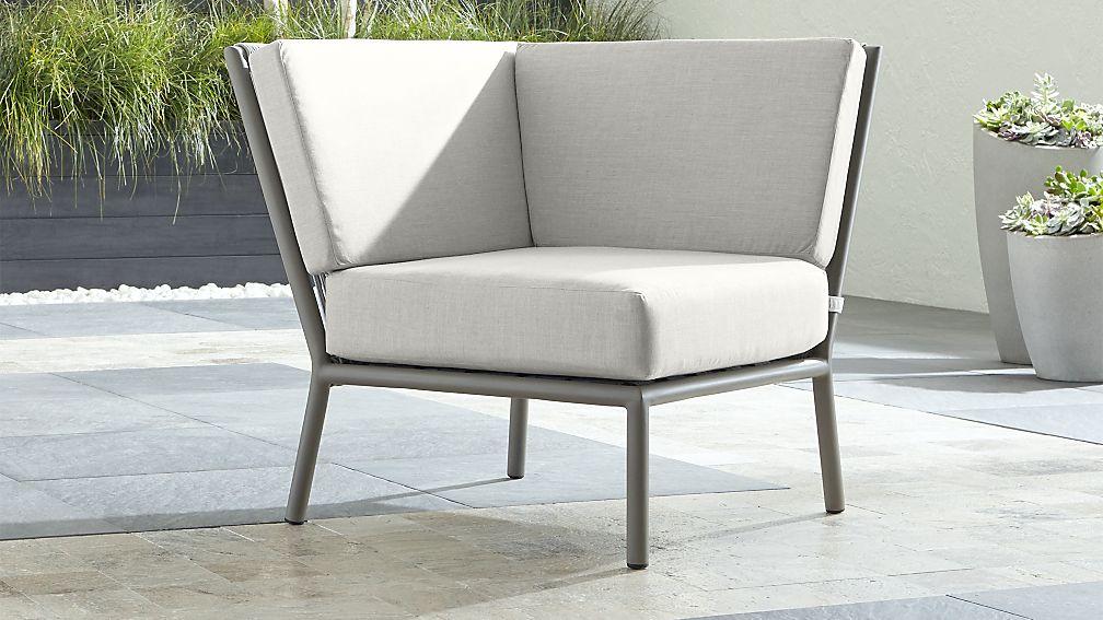 Morocco Light Grey Sectional Corner with White Sunbrella ® Cushion - Image 1 of 6