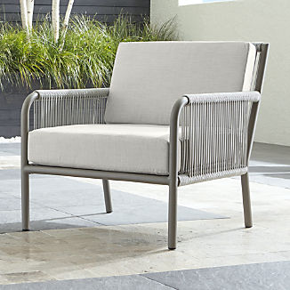 Morocco Light Grey Lounge Chair with White Sunbrella ® Cushion