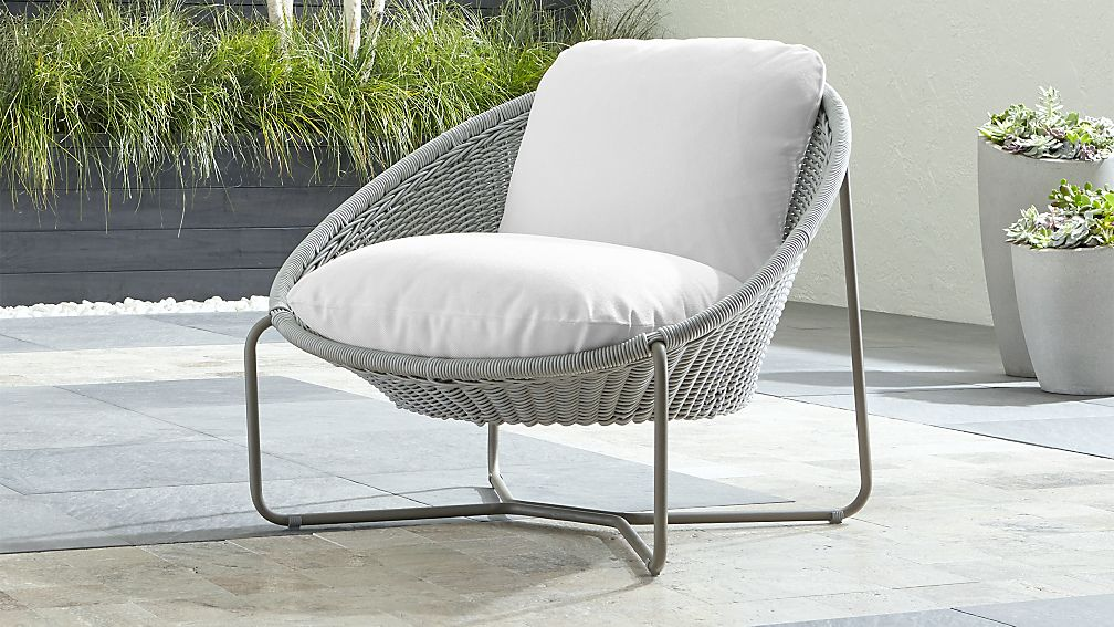 Morocco Light Grey Oval Lounge Chair With White Cushion Reviews Crate And Barrel