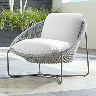 Morocco Light Grey Oval Lounge Chair with White Cushion