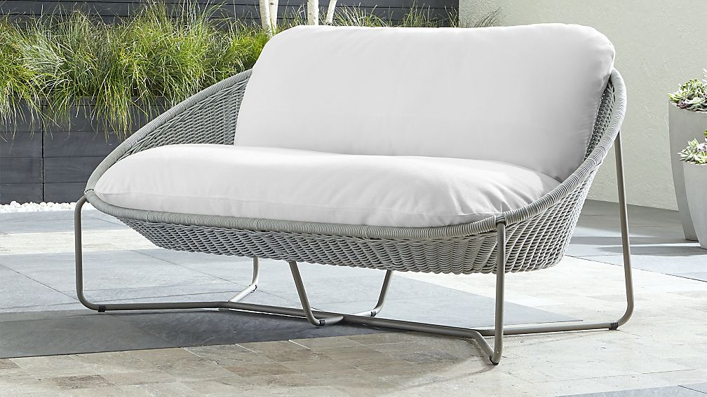 Morocco Light Grey Oval Loveseat with White Cushion - Image 1 of 6