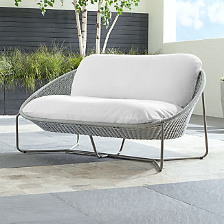 Morocco Light Grey Oval Loveseat with White Cushion