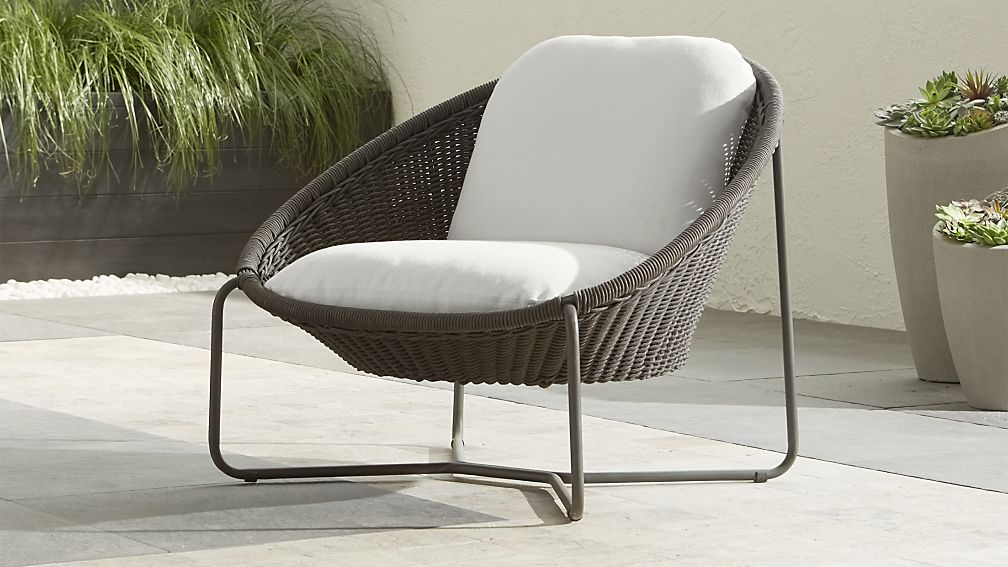 Morocco Graphite Oval Lounge Chair with White Cushion - Image 1 of 11