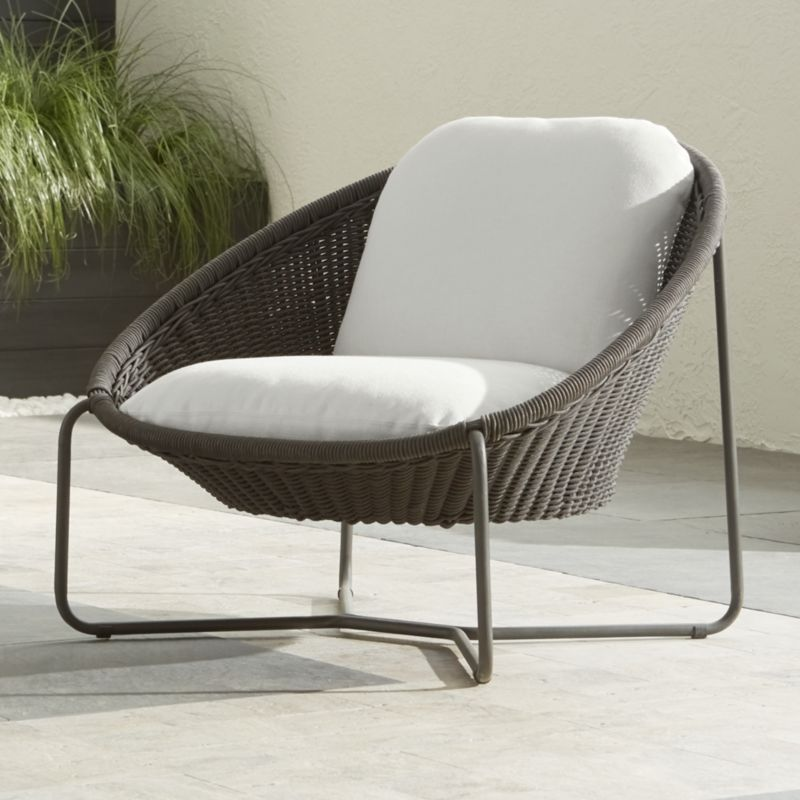 Morocco Graphite Oval Lounge Chair With Cushion In Lounge