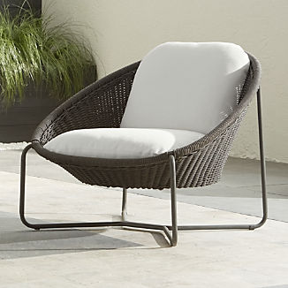 Morocco Graphite Oval Lounge Chair with White Cushion