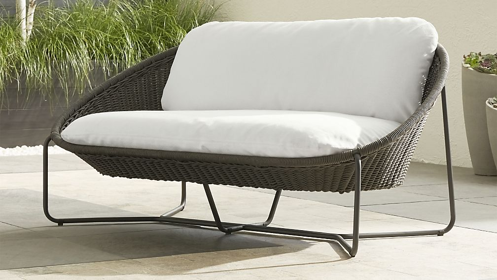 Morocco Graphite Oval Loveseat with White Cushion - Image 1 of 12