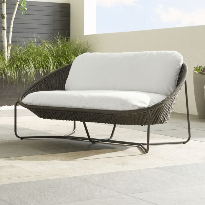 patio spring cushions blue weather loveseats with bay sky outdoor hampton wicker all small haven p brown loveseat