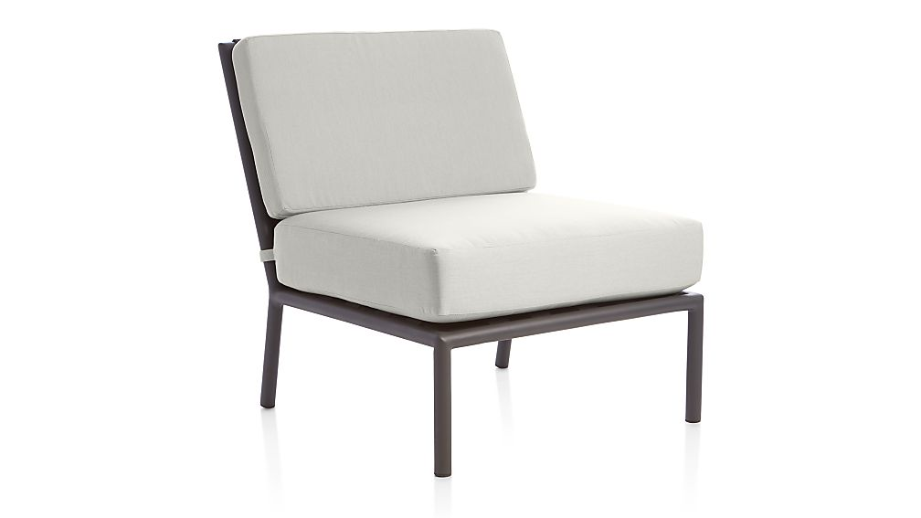 Morocco Graphite Sectional Armless Chair with White Sunbrella ® Cushions - Image 1 of 5