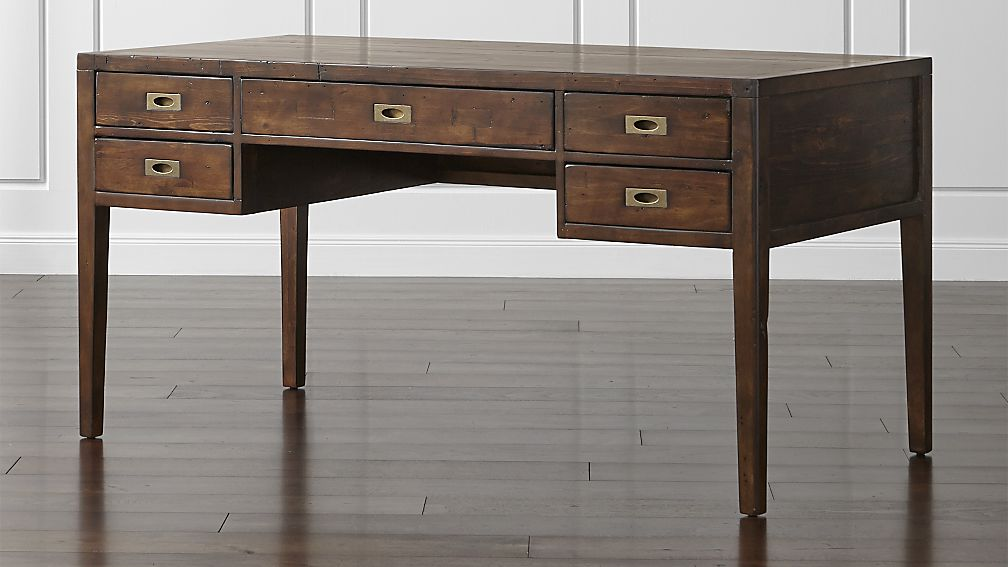 Morris 60 Quot Chocolate Brown Desk Crate And Barrel