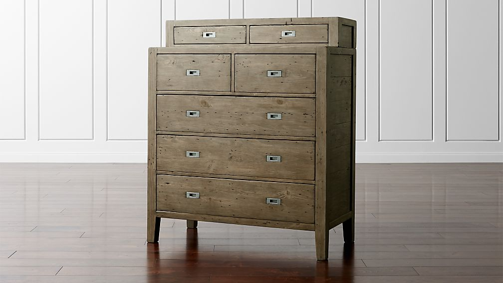 Morris Ash Grey 5-Drawer Chest with Hutch