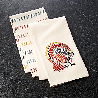 Mosaic Turkey Dish Towels, Set Of 2