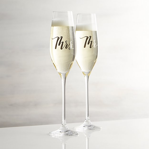 Mr And Mrs Champagne Flutes Crate And Barrel
