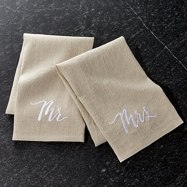 Mr And Mrs Dish Towels Crate And Barrel