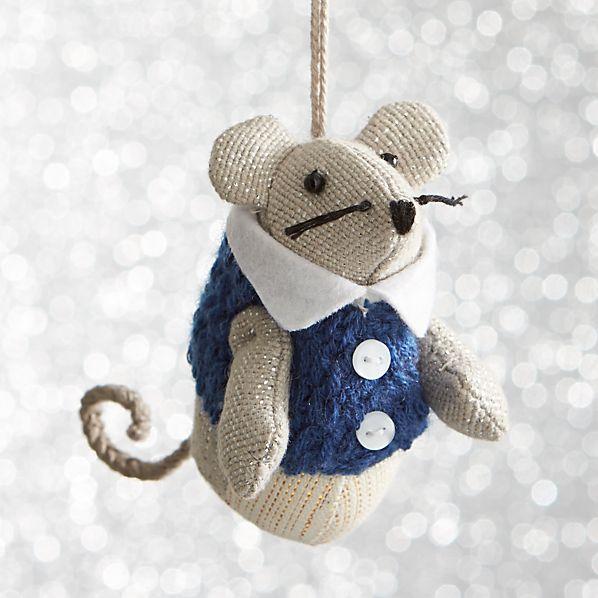 Mouse with Blue Vest Ornament