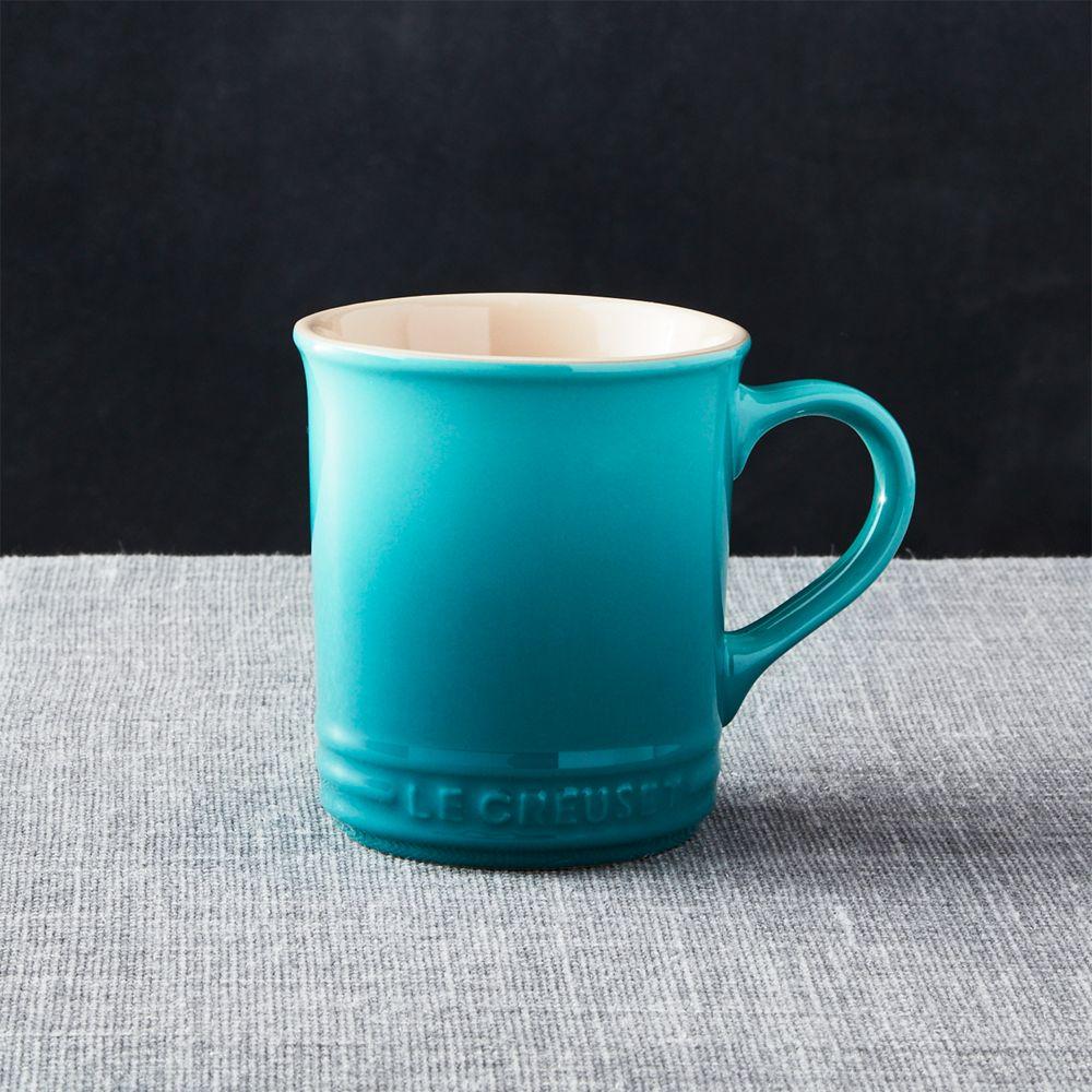Le Creuset Caribbean Blue Mug - Crate and Barrel