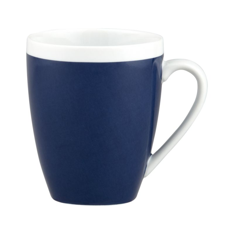 A pop of color for everyday dining. Clean, coupe shape is navy blue with a wide band of white around the rim.<br /><br /><NEWTAG/><ul><li>Porcelain</li><li>Dishwasher-, microwave- and oven-safe to 350 degrees</li></ul>