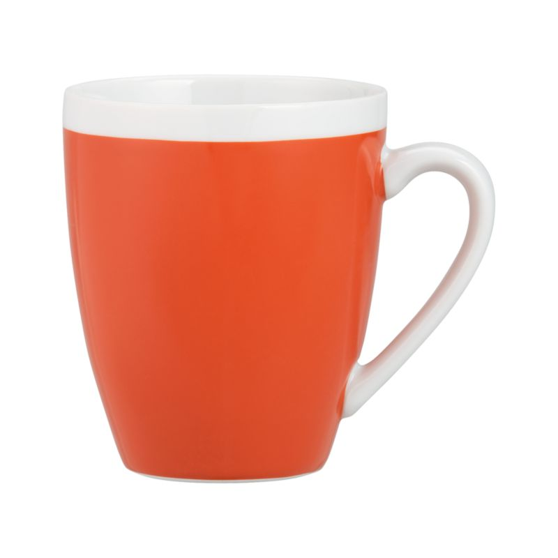 A pop of color for everyday dining. Clean, coupe shape is orange with a wide band of white around the rim.<br /><br /><NEWTAG/><ul><li>Porcelain</li><li>Dishwasher-, microwave- and oven-safe to 350 degrees</li></ul>