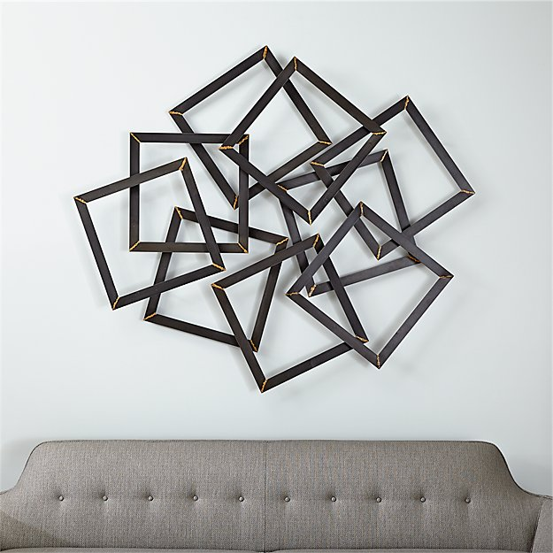 Square Metal Wall Art multi squares metal wall decor | crate and barrel