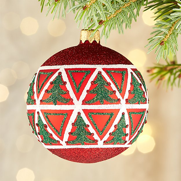 Multi Tree Red Ball Ornament
