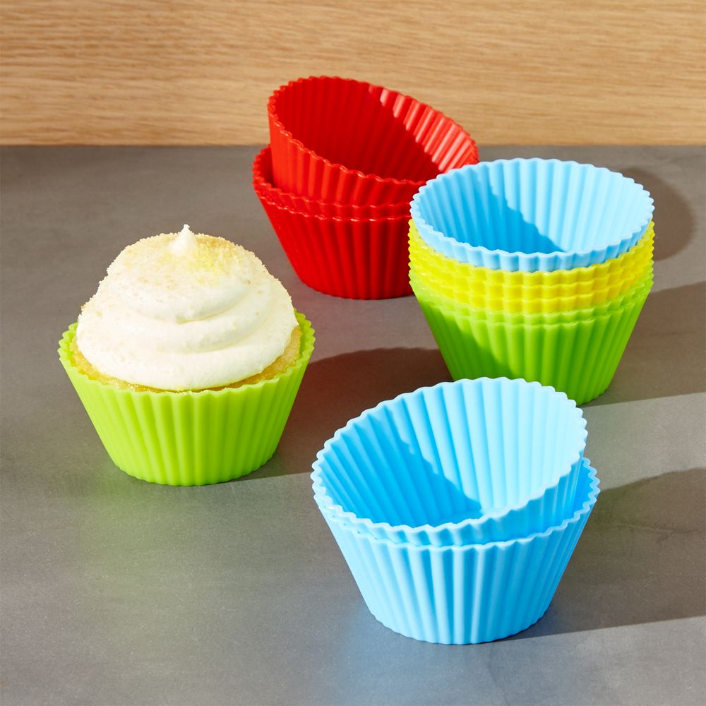 Set of 12 Multicolor Silicone Baking Cups - Crate and Barrel