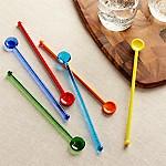 Multicolored Glass Swizzle Sticks, Set of 6