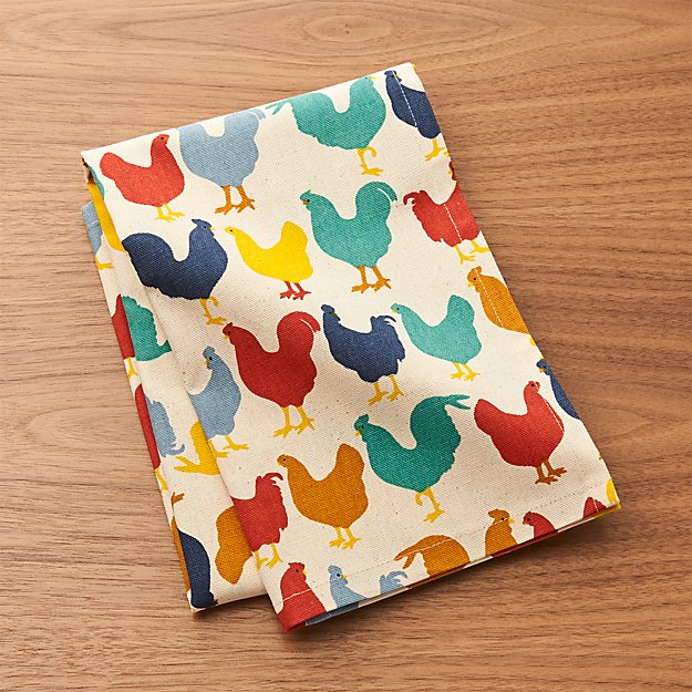 Multicolored Roosters Dish Towel Reviews Crate And Barrel
