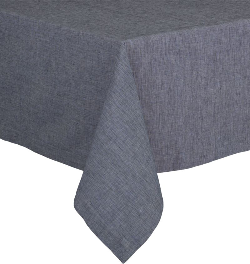 Three color threads of deep blue weave a saturated indigo tablecloth, pre-washed to a soft finish.<br /><br /><NEWTAG/><ul><li>55% linen and 45% cotton</li><li>Machine wash cold, dry flat</li><li>Do not tumble dry or iron</li></ul>