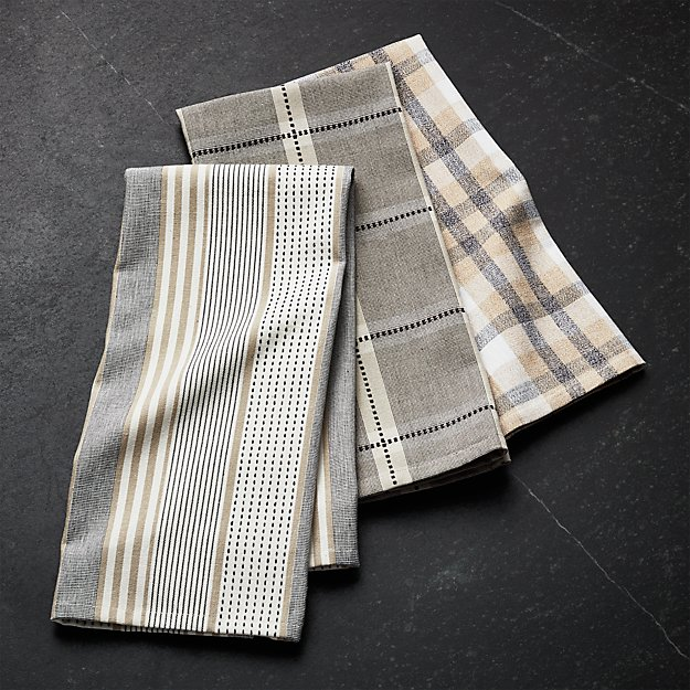 Myles Neutral Dish Towels Set Of 3 Reviews Crate And Barrel