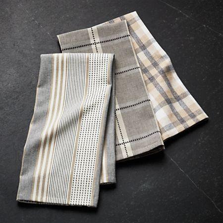 Myles Neutral Dish Towels, Set of 3